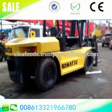 Good condition 2.6 m fork length 10 ton Komatsu FD100-7 Japan diesel forklift 5m lifting height with sideshift